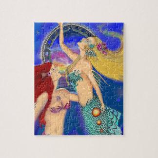 Mermaid Portal Digital Sunset Jigsaw Puzzle