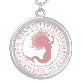 Mermaid Press Rose Round Pendant Necklace