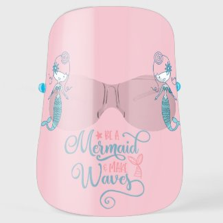 Mermaid pretty pink girls making waves face shield