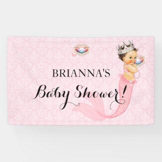 Mermaid Princess Baby Girl Crown Pink Glitter Banner