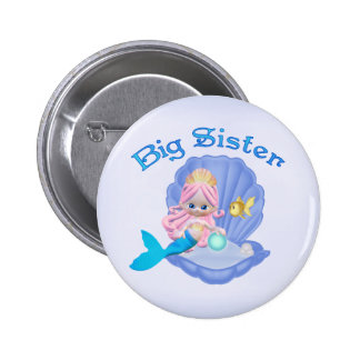 Mermaid Princess Big Sister Pinback Button