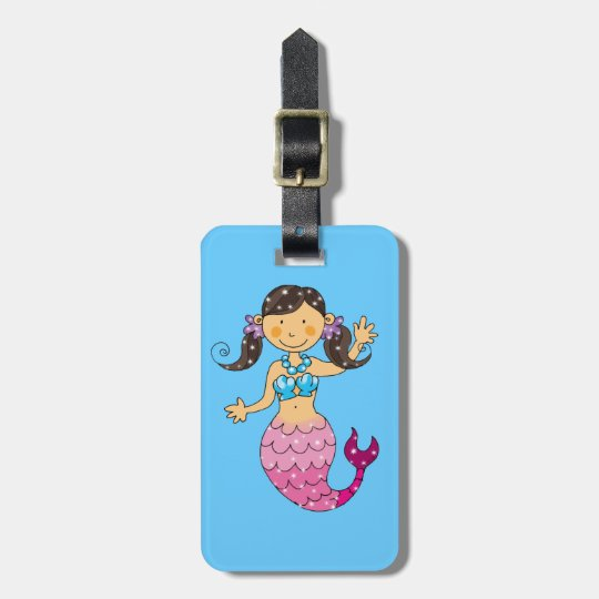 mermaid princess (dark hair) luggage tag