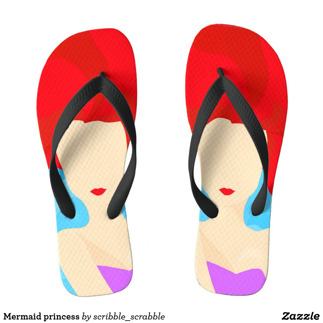 Mermaid princess flip flops