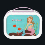 """Mermaid Princess &amp; Friends Personalized Lunch Box<br><div class=""""desc"""">A fun illustration of a pretty mermaid princess and her playful friends,  the fish,  crab and starfish,  are all gathered on the front and back of this charming personalized lunch box.  Perfect for any little girl who loves mermaids and all things under the sea!</div>"""