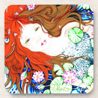 Mermaid Princess in Pop Art Style Coasters