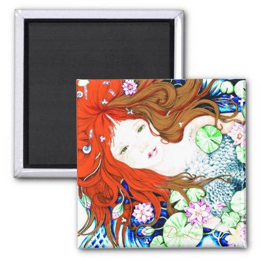Mermaid Princess in Pop Art Style Magnets