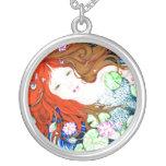 Mermaid Princess in Pop Art Style Necklace