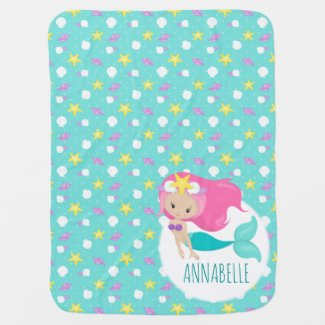 Mermaid Princess Kids Starfish Cute Aqua Blue Teal Baby Blanket