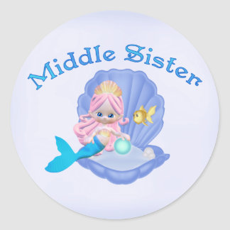 Mermaid Princess Middle Sister Classic Round Sticker
