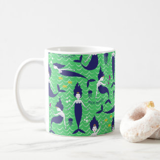 Mermaid Princess Mug in Green/Navy