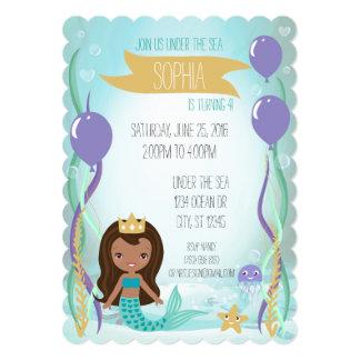 Mermaid Princess Party Invitation (5x7 Dark)