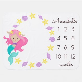 Mermaid Princess Starfish Baby Girl Milestone Baby Blanket