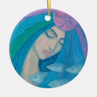 Mermaid Princess, Underwater Fantasy, Pink Blue Ceramic Ornament
