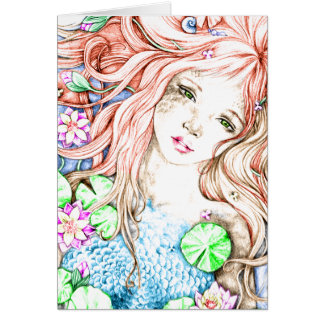Mermaid Princess Watercolor Card