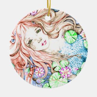 Mermaid Princess Watercolor Ceramic Ornament