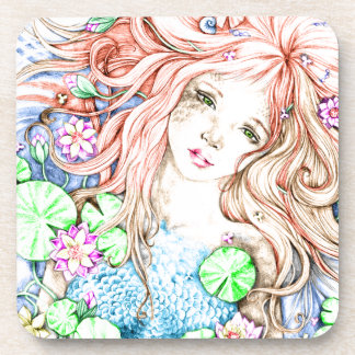 Mermaid Princess Watercolor Coaster