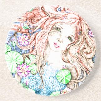Mermaid Princess Watercolor Drink Coasters