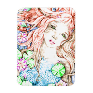 Mermaid Princess Watercolor Magnet