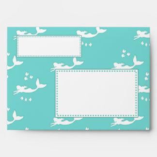 Mermaid Print Sea Green A7 Greeting Card Envelopes