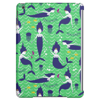 Mermaid Printed Ipod Air case in green/navy Cover For iPad Air