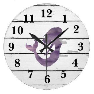 Mermaid Purple Beach Decor Rustic Shiplap Large Clock