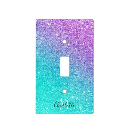 Mermaid purple blue chic glitter monogram sparkles light switch cover