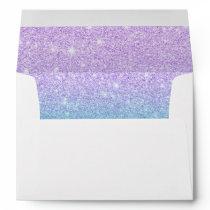 Mermaid purple teal aqua glitter ombre gradient envelope