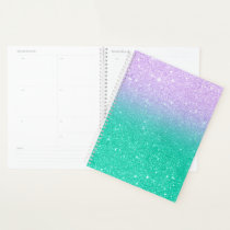 Mermaid purple teal aqua glitter ombre gradient planner