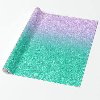 Mermaid purple teal aqua glitter ombre gradient wrapping paper