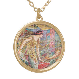 Mermaid Queen of the Fishes Gold Plated Necklace
