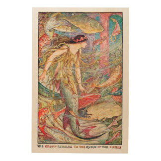 Mermaid Queen of the Fishes Wood Print