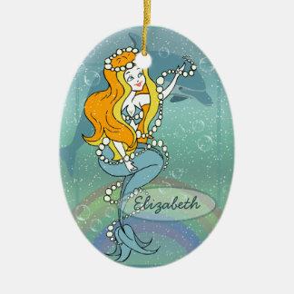 Mermaid Rainbow and Dolphin Illustration Design Double-Sided Oval Ceramic Christmas Ornament