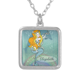 Mermaid Rainbow and Dolphin Illustration Design Square Pendant Necklace