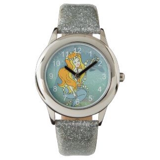 Mermaid Rainbow and Dolphin Illustration Design Wristwatch