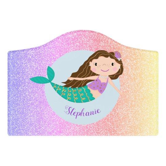 Mermaid Rainbow Glitter Personalized Bedroom Door Sign