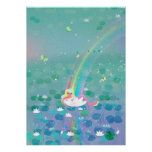 Mermaid resting in a water lily kids' illustration poster