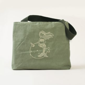 Mermaid Riding Pet Narwhal Tote