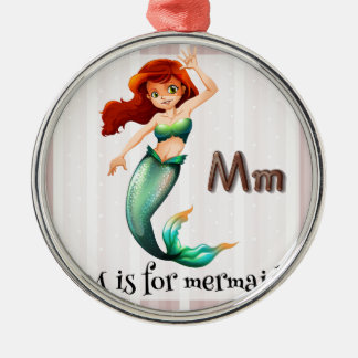 Mermaid Round Metal Christmas Ornament