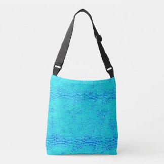 Mermaid Scale Neon Blue Vegan Leather Crossbody Bag