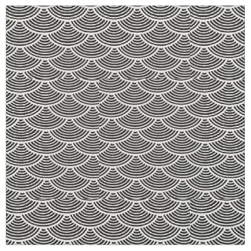 Beach Themed mermaid scales #2 Thunder_Cove black/white Fabric