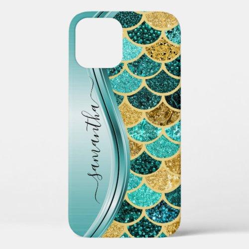 Mermaid Scales Aqua Handwritten Name Gold Phone Case