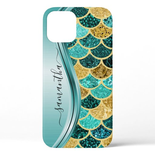 Mermaid Scales Aqua Handwritten Name Gold iPhone 12 Pro Case