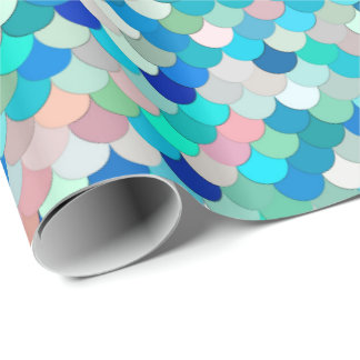 Mermaid Scales, Aqua, Shell Pink, and Cobalt Wrapping Paper