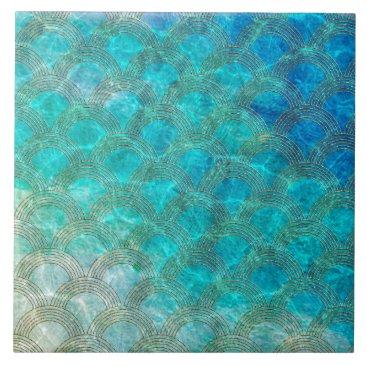 Beach Themed Mermaid Scales Beach Summer Water Sea Fun Ceramic Tile