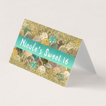 Mermaid Scales Cascading Gold Glitter Table Seat Place Card