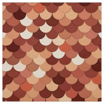 Beach Themed Mermaid Scales, Copper, Brown, Cream, and Tan Fabric