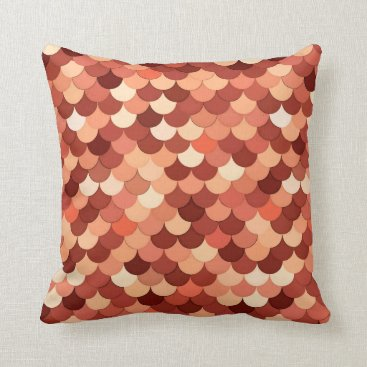 Beach Themed Mermaid Scales, Copper, Brown, Cream, and Tan Throw Pillow