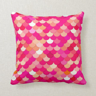 Mermaid Scales, Coral, Fuchsia Pink, and Peach Throw Pillow