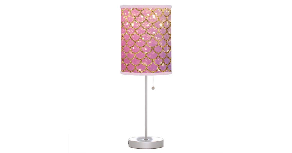 Mermaid Scales Gold Puple Pink Desk Lamp Zazzle Com