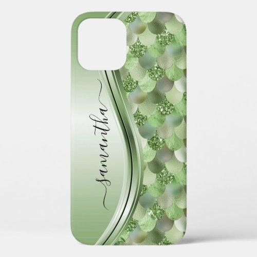 Mermaid Scales Green Handwritten Name Metal Phone Case